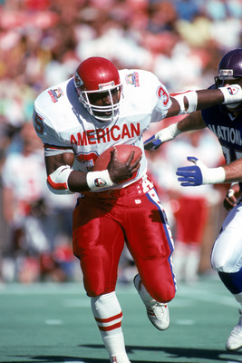 HONOLULU, HI - FEBRUARY 4:  Kansas City Chiefs running back Christian Okoye #35 of the AFC squad hustles for yards during the 1990 NFL Pro Bowl at Aloha Stadium on February 4, 1990 in Honolulu, Hawaii.  The NFC won 27-21.  (Photo by George Rose/Getty Imag