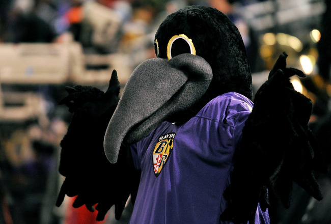 BALTIMORE, MD - DECEMBER 05:  Poe, the mascot of the Baltimore Ravens, cheers on the team during the game against the Pittsburgh Steelers at M&T Bank Stadium on December 5, 2010 in Baltimore, Maryland. Pittsburgh won 13-10. (Photo by Larry French/Getty Im