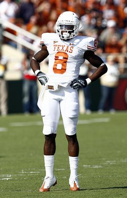 WACO, TX - NOVEMBER 14:  Cornerback Chykie Brown #8  of the Texas Longhorns celebrates in the first half against the Baylor Bears on November 14, 2009 at Floyd Casey Stadium in Waco, Texas.  The Longhorns beat the Bears 47-14.  (Photo by Tom Pennington/Ge