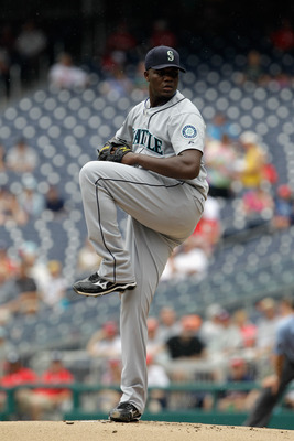 WASHINGTON, DC - JUNE 23:  Starting pitcher Michael Pineda #36 of the Seattle Mariners delivers to a Washington Nationals batter  at Nationals Park on June 23, 2011 in Washington, DC.  (Photo by Rob Carr/Getty Images)