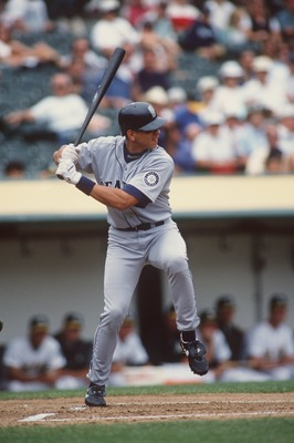 16 Jul 1996:  Short stop Alex Rodriguez of the Seattle Mariners stares back at the pitchers mound as he begins his batting swing while waiting for the pitch during the Mariners 12-5 loss to the Oakland A's at  Alameda County Coliseum in Oakland, Californi