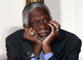 WASHINGTON, DC - FEBRUARY 15:  Former Boston Celtics captain Bill Russell listens during the 2010 Medal of Freedom presentation ceremony at the East Room of the White House February 15, 2011 in Washington, DC. Obama presented the medal, the highest honor