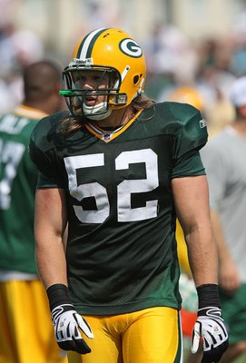 GREEN BAY, WI - AUGUST 03: Clay Matthews #52 of the Green Bay Packers works out during practice at summer training camp on August 3, 2009 at the Ray Nitschke Field in Green Bay, Wisconsin. (Photo by Jonathan Daniel/Getty Images)