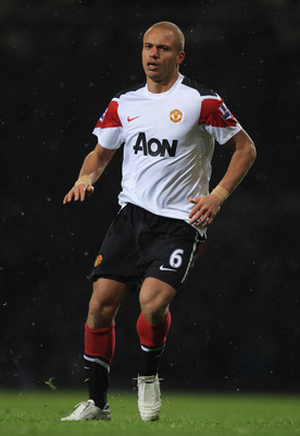 LONDON, ENGLAND - NOVEMBER 30: Wes Brown of Manchester United looks on during the Carling Cup Quarter Final match between West Ham United and Manchester United at the Boleyn Ground on November 30, 2010 in London, England.  (Photo by Mark Thompson/Getty Im