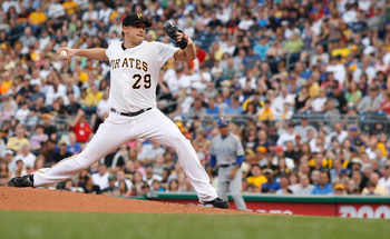 PITTSBURGH - JULY 09:  Kevin Correia #29 of the Pittsburgh Pirates pitches against the Chicago Cubs during the game on July 9, 2011 at PNC Park in Pittsburgh, Pennsylvania.  (Photo by Jared Wickerham/Getty Images)