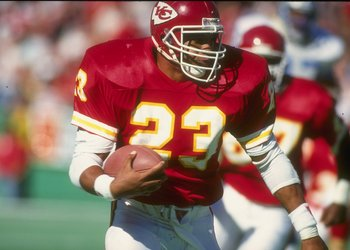 14 Oct 1990: Running back Barry Word of the Kansas City Chiefs moves the ball during a game against the Detroit Lions at Arrowhead Stadium in Kansas City, Missouri. The Chiefs won the game, 43-24.