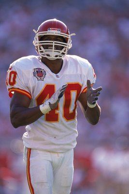 14 Nov 1999:  James Hasty #40 of the Kansas City Chiefs claps his hands during the game against the Tampa Bay Buccaneers at the Raymond James Stadium in Tampa, Florida. The Buccaneers defeated the Chiefs 17-10. Mandatory Credit: Andy Lyons  /Allsport