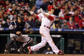 PHILADELPHIA - NOVEMBER 02:  Chase Utley #26 of the Philadelphia Phillies hits a solo home run in the bottom of the seventh inning against the New York Yankees in Game Five of the 2009 MLB World Series at Citizens Bank Park on November 2, 2009 in Philadel