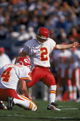 31 Dec 2001:  Todd Peterson #2 of the Kansas City Chiefs kicks the ball that is being held in place by teammate Dan Stryzinski #4 during the NFL game against the Jacksonville Jaguars at Altell Stadium in Jacksonville, Florida.  The Chiefs defeated the Jag