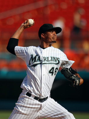 MIAMI GARDENS, FL - JULY 21: Leo Nunez #46 of the Florida Marlins pitches during a game against the San Diego Padres at Sun Life Stadium on July 21, 2011 in Miami Gardens, Florida. The San Diego Padres defeated the Florida Marlins 5-3.  (Photo by Sarah Gl