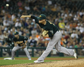 DETROIT, MI - JULY 20:  Relief pitcher Andrew Bailey #40 of the Oakland Athletics throws in the ninth inning against the Detroit Tigers during an MLB game at Comerica Park on July 20, 2011 in Detroit, Michigan. The Athletics won 7-5.  (Photo by Dave Regin