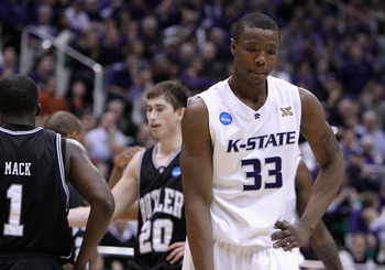 SALT LAKE CITY - MARCH 27:  Wally Judge #33 of the Kansas State Wildcats reacts after being called for a foul against Gordon Hayward #20 of the Butler Bulldogs during the west regional final of the 2010 NCAA men's basketball tournament at the Energy Solut