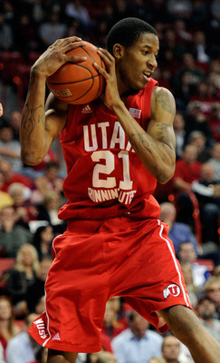 LAS VEGAS, NV - FEBRUARY 02:  Will Clyburn #21 of the Utah Utes grabs a rebound during a game against the UNLV Rebels at the Thomas & Mack Center February 2, 2011 in Las Vegas, Nevada. UNLV won 67-54.  (Photo by Ethan Miller/Getty Images)