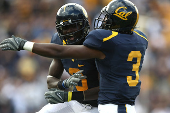 BERKELEY, CA - OCTOBER 04:  D.J. Campbell #8 of the California Golden Bears celebrates with D.J. Holt #3 after scoring a touchdown against the Arizona State Sun Devils during an NCAA football game at Memorial Stadium on October 4, 2008 in Berkeley, Califo