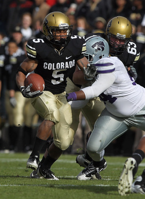 BOULDER, CO - NOVEMBER 20:  Running back Rodney Stewart #5 of the Colorado Buffaloes rushes with the ball against the Kansas State Wildcats at Folsom Field on November 20, 2010 in Boulder, Colorado. Colorado defeated Kansas State 44-36.  (Photo by Doug Pe
