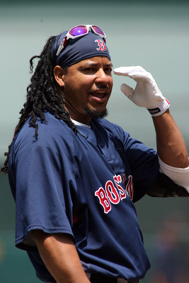 ANAHEIM, CA - JULY 20: Manny Ramirez #24 of the Boston Red Sox looks on during batting practice before the game against the Los Angeles Angels of Anaheim at Angels Stadium on July 20, 2008 in Anaheim, California.  (Photo by Christian Petersen/Getty Images