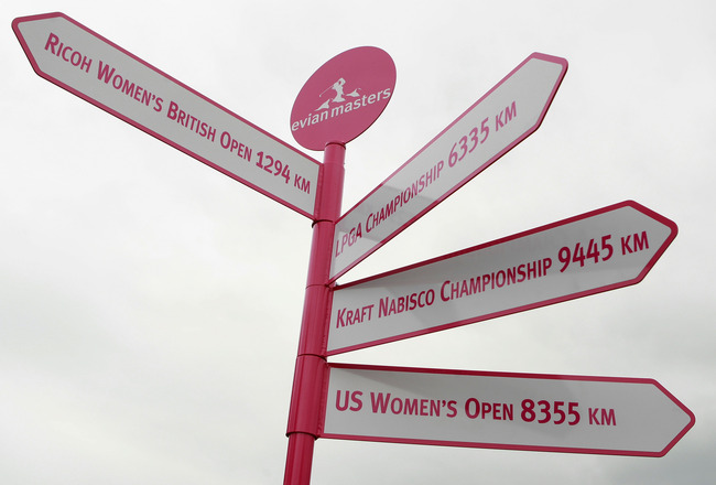 EVIAN-LES-BAINS, FRANCE - JULY 20:  A sign is seen near the clubhouse prior to the start of the Evian Masters at the Evian Masters Golf Club on July 20, 2011 in Evian-les-Bains, France. The Evian Masters will become a Major on the LPGA schedule starting i