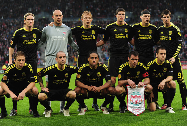 UTRECHT, NETHERLANDS - SEPTEMBER 30:  The Liverpool team pose for a team photograph during the UEFA Europa League match between FC Utrecht and Liverpool at the Stadion Galgenwaard on September 30, 2010 in Utrecht, Netherlands.  (Photo by Jamie McDonald/Ge