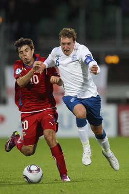 VIBORG, DENMARK - JUNE 19:  Phil Jones (R) of England and Jan Moravek (L) of Czech Republic during the UEFA European Under-21 Championship Group B match between England and Czech Republic at the Viborg Stadium on June 19, 2011 in Viborg, Denmark.  (Photo