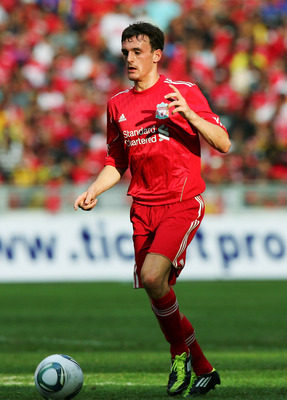 KUALA LUMPUR, MALAYSIA - JULY 16:  Jack Robinson of Liverpool during the pre-season friendly match between Malaysia and Liverpool at the Bukit Jalil National Stadium on July 16, 2011 in Kuala Lumpur, Malaysia. (Photo by Stanley Chou/Getty Images)