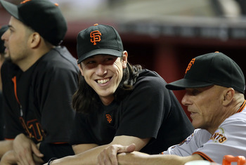 PHOENIX, AZ - JUNE 15:  Tim Lincecum #55 of the San Francisco Giants in the dugout during the Major League Baseball game against the Arizona Diamondbacks at Chase Field on June 15, 2011 in Phoenix, Arizona. The Giants defeated the Diamondbacks 5-2.  (Phot