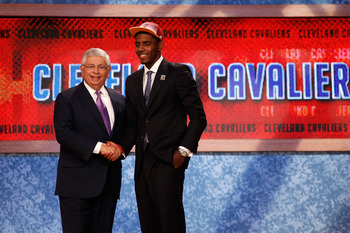 NEWARK, NJ - JUNE 23:  Kyrie Irving (R) from Duke greets NBA Commissioner David Stern after he was selected number one overall by the Cleveland Cavaliers in the first round during the 2011 NBA Draft at the Prudential Center on June 23, 2011 in Newark, New