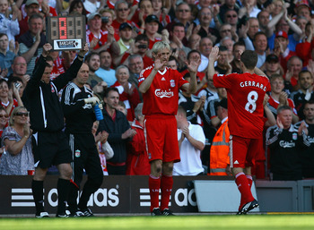 LIVERPOOL, ENGLAND - MAY 24:  Sami Hyypia of Liverpool replaces Steven Gerrard to play his last game for Liverpool in the Barclays  Premier League match between Liverpool and Tottenham Hotspur at Anfield on May 24, 2009 in Liverpool, England.  (Photo by A