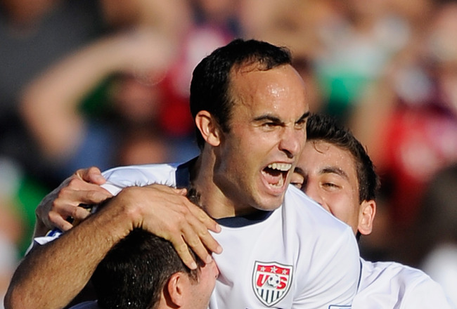 PASADENA, CA - JUNE 25:  Landon Donovan #10 of United States celebrates his goal with teammates Carlos Bocanegra #3 and Alejandro Bedoya #22  against Mexico during the 2011 CONCACAF Gold Cup Championship at the Rose Bowl on June 25, 2011 in Pasadena, Cali