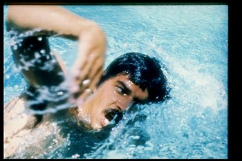 1972:  General view of Mark Spitz swimming during the 1972 Summer Olympics in Munich, Germany. Mandatory Credit: Tony Duffy  /Allsport