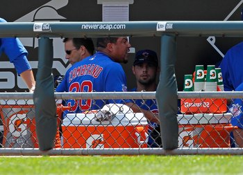 CHICAGO - JUNE 25: Starting pitcher Carlos Zambrano #38 of the Chicago Cubs yells at teammates in the dugout after giving up four runs in the 1st inning to the Chicago White Sox at U.S. Cellular Field on June 25, 2010 in Chicago, Illinois.  The White Sox