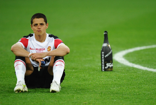 LONDON, ENGLAND - MAY 28:  Javier Hernandez of Manchester United shows his dejection after the UEFA Champions League final between FC Barcelona and Manchester United FC at Wembley Stadium on May 28, 2011 in London, England.  (Photo by Laurence Griffiths/G