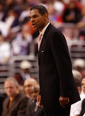 PHILADELPHIA - MAY 01:  Head coach Maurice Cheeks  of the Philadelphia 76ers on the sideline against the Detroit Pistons in Game Six of the Eastern Conference Quarterfinals during the 2008 NBA Playoffs on May 1, 2008 at the Wachovia Center in Philadelphia