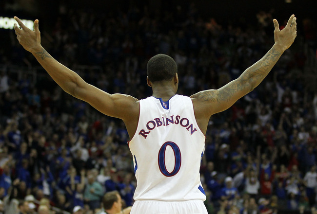 KANSAS CITY, MO - MARCH 12:  Thomas Robinson #0 of the Kansas Jayhawks reacts after a play against the Texas Longhorns during the 2011 Phillips 66 Big 12 Men's Basketball Tournament championship game at Sprint Center on March 12, 2011 in Kansas City, Miss