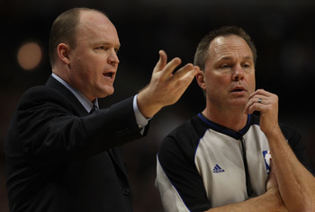 CHICAGO, IL - DECEMBER 28: Head coach Scott Skiles of the Milwaukee Bucks complains to referee Bill Spooner #22 during a game against the Chicago Bulls at the United Center on December 28, 2010 in Chicago, Illinois. NOTE TO USER: User expressly acknowledg
