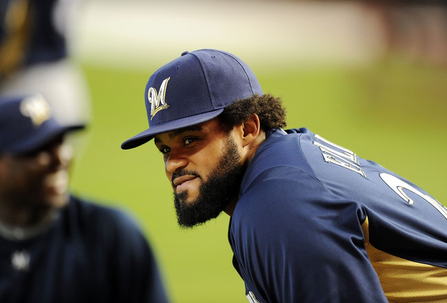 PHOENIX, AZ - JULY 21:  Prince Fielder #28 of the Milwaukee Brewers gets ready to take batting practice prior to the game against the Arizona Diamondbacks at Chase Field on July 21, 2011 in Phoenix, Arizona.  (Photo by Norm Hall/Getty Images)