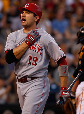 PITTSBURGH - JULY 19:  Joey Votto #19 of the Cincinnati Reds yells after striking out against the Pittsburgh Pirates during the game on July 19, 2011 at PNC Park in Pittsburgh, Pennsylvania.  (Photo by Jared Wickerham/Getty Images)
