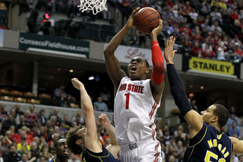 INDIANAPOLIS, IN - MARCH 12:  Deshaun Thomas #1 of the Ohio State Buckeyes drives for a shot attempt against the Michigan Wolverines during the semifinals of the 2011 Big Ten Men's Basketball Tournament at Conseco Fieldhouse on March 12, 2011 in Indianapo
