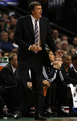 BOSTON - FEBRUARY 01:  Head coach Kevin McHale of Minnesota Timberwolves reacts to a call on one of his players in the second half against the Boston Celtics on February 1, 2009 at TD Banknorth Garden in Boston, Massachusetts. The Celtics defeated the Min