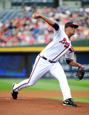 ATLANTA - JUNE 17: Randall Delgado #40 of the Atlanta Braves pitches against the Texas Rangers at Turner Field on June 17, 2011 in Atlanta, Georgia. (Photo by Scott Cunningham/Getty Images)