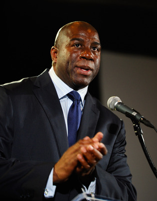 LOS ANGELES, CA - FEBRUARY 01:  Los Angeles Lakers basketball great Magic Johnson speaks during an event announcing naming rights for the new football stadium Farmers Field at Los Angeles Convention Center on February 1, 2011 in Los Angeles, California. A