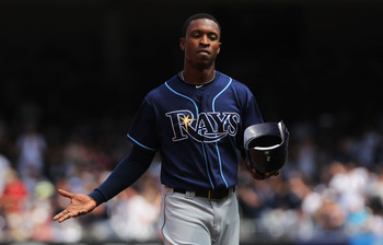 NEW YORK, NY - JULY 10:  BJ Upton #2 of the Tampa Bay Rays reacts after being out on a double play against the New York Yankees at Yankee Stadium on July 10, 2011 in the Bronx borough of New York City.  (Photo by Nick Laham/Getty Images)