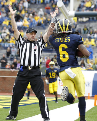 ANN ARBOR, MI - APRIL 16: Je'Ron Stokes #6 of the Michigan Wolverines scores a touchdown late in the game during the annual Spring Game at Michigan Stadium on April 16, 2011 in Ann Arbor, Michigan.  (Photo by Leon Halip/Getty Images)