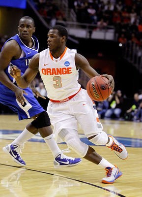 CLEVELAND, OH - MARCH 18: Dion Waiters #3 of the Syracuse Orange handles the ball against the Indiana State Sycamores during the second round of the 2011 NCAA men's basketball tournament at Quicken Loans Arena on March 18, 2011 in Cleveland, Ohio.  (Photo
