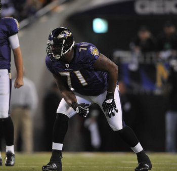 BALTIMORE - NOVEMBER 29:  Jared Gaither #71 of the Baltimore Ravens defends against the Pittsburgh Steelers at M&amp;T Bank Stadium on November 29, 2009 in Baltimore, Maryland. The Ravens defeated the Steelers 20-17. (Photo by Larry French/Getty Images)