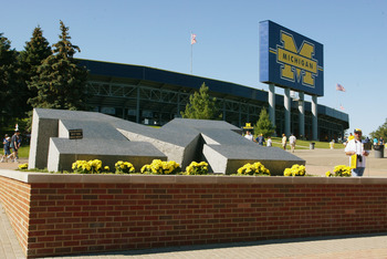 ANN ARBOR, MI - SEPTEMBER 6:  General view of the front area of Michigan Stadium prior to the game between the Michigan Wolverines and the Houston Cougars on September 6, 2003 in Ann Arbor, Michigan. Michigan defeated Houston 50-3. (Photo by Danny Molosho