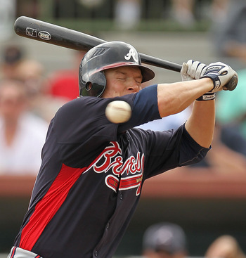 KISSIMMEE, FL - MARCH 01: Nate McClouth #13 of the Atlanta Braves gets hit by a pitch during a Spring Training game against the Houston Astros at Osceola County Stadium on March 1, 2011 in Kissimmee, Florida.  (Photo by Mike Ehrmann/Getty Images)