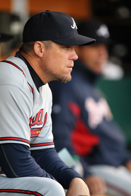 SAN FRANCISCO, CA - APRIL 22:  Chipper Jones #10 of the Atlanta Braves sits in the dugout before their game against the San Francisco Giants at AT&T Park on April 22, 2011 in San Francisco, California.  (Photo by Ezra Shaw/Getty Images)
