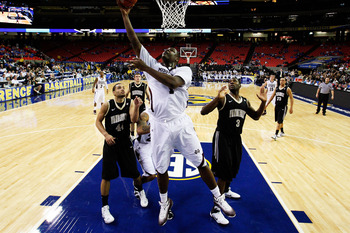 ATLANTA, GA - MARCH 11:  Renardo Sidney #1 of the Mississippi State Bulldogs goes up for a shot against the Vanderbilt Commodores during the quarterfinals of the SEC Men's Basketball Tournament at Georgia Dome on March 11, 2011 in Atlanta, Georgia.  (Phot