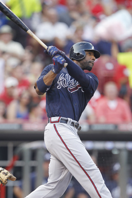 CINCINNATI, OH - JULY 22: Jason Heyward #22 of the Atlanta Braves homers in the fourth inning against the Cincinnati Reds at Great American Ball Park on July 22, 2011 in Cincinnati, Ohio. (Photo by Joe Robbins/Getty Images)