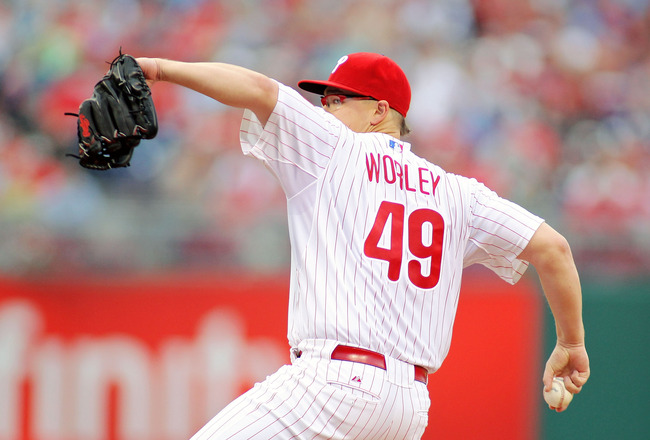 PHILADELPHIA - JUNE 24:  Vance Worley #49 of the Philadelphia Phillies pitches against the Oakland Athletics at Citizens Bank Park on June 24, 2011 in Philadelphia, Pennsylvania.  The Phillies defeated the Athletics 1-0.  (Photo by Len Redkoles/Getty Imag